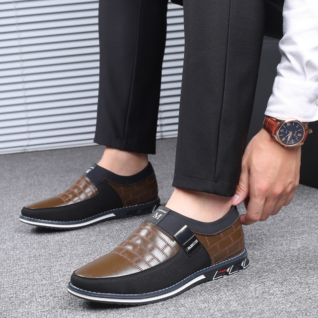 New Big Size 38-48 Leather Men Fashion Casual Slip On Formal Business Wedding Dress Shoes 5