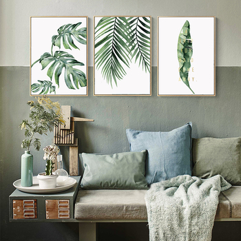 Watercolor Plant Green Leaves Canvas Painting Art Print Poster Picture Wall Modern Minimalist Bedroom Living Room Decoration