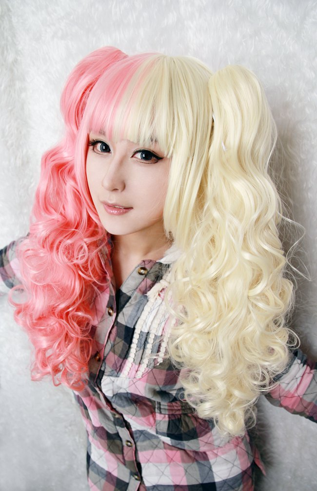 MCOSER Fashion Girls Hairstyle For Anime Cosplay Curly Half Mixed Long Ponytails Lolita Wig on