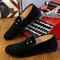 2017 A Tendência de Calçados Casuais dos homens Coreano Couro PU Respirável Conjunto Pedal de Lazer da Moda Sapatos Mocassins de Condução