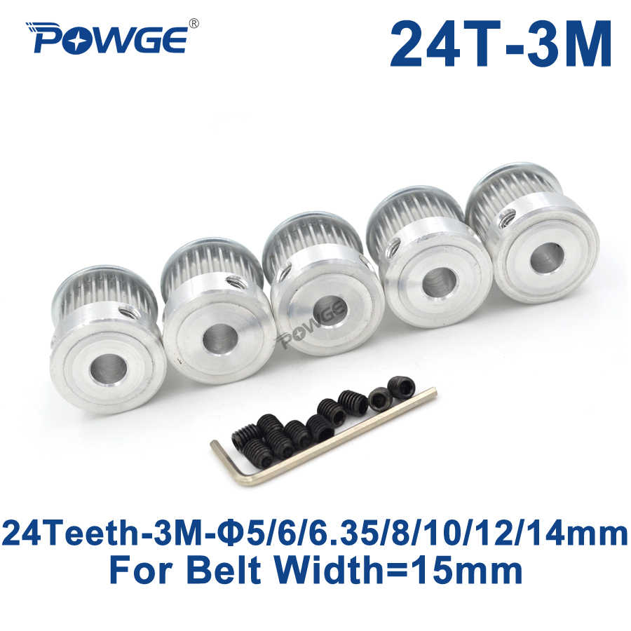 24 Teeth 3M Timing Pulley Bore 5//6//6.35//8mm for Width 15mm 3M Synchronous Belt