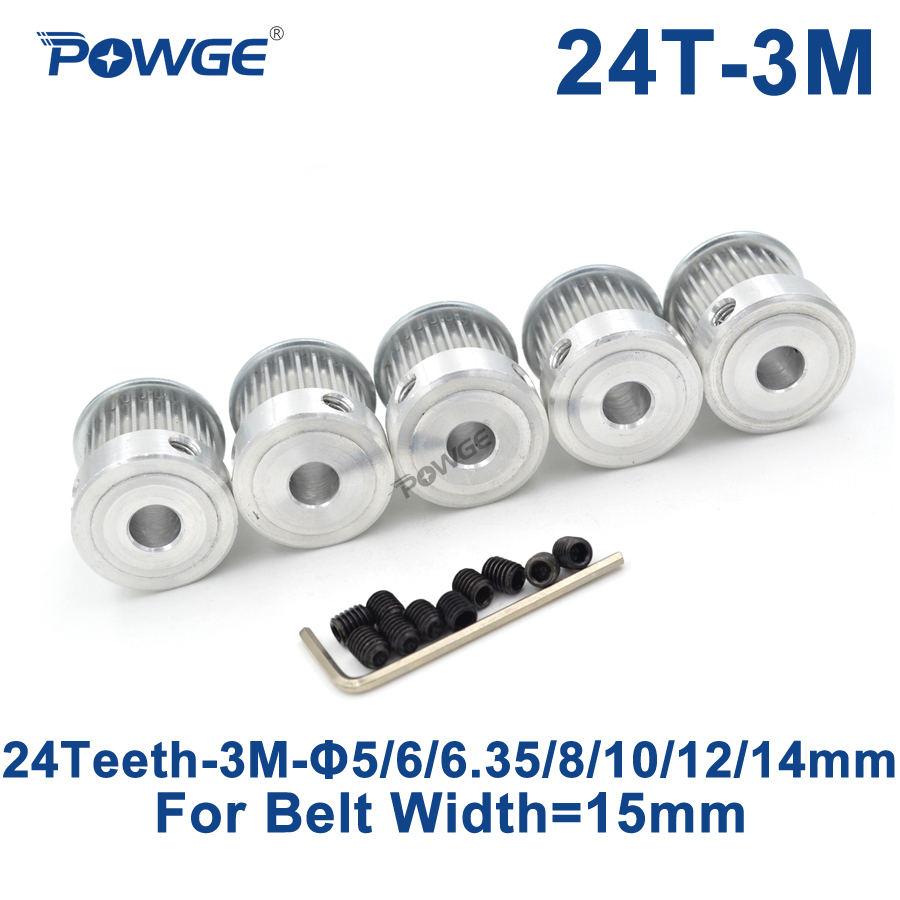 POWGE 5pcs 24 Teeth HTD 3M Timing Pulley Bore 5/6/6.35/8/10/12/14mm for Width 15mm 3M Synchronous belt HTD3M pulley 24T 24Teeth все цены