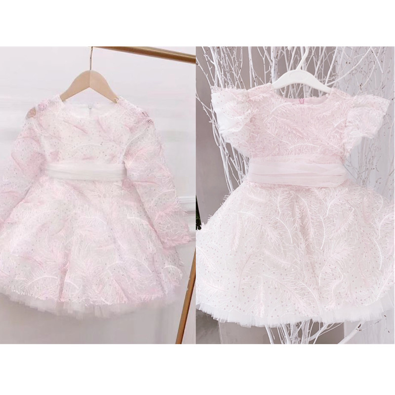 Spring summer baby dress girls party dress Embroidered feather design tutu kids dresses boutique children's clothing