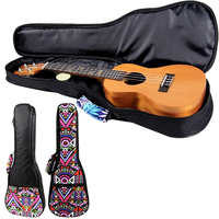 Hot Sale Double Strap 21 23 26 Inch Hand Folk Canvas Ukulele Carry Bag Cotton Padded Case For Ukulele Guitar Parts Accessories