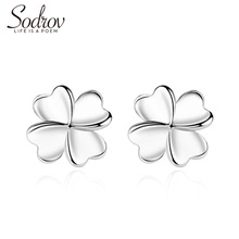 SODROV 925 Sterling Silver Fine Stud Earrings Exquisite Jewelry Gift Female Four Leaf Clover