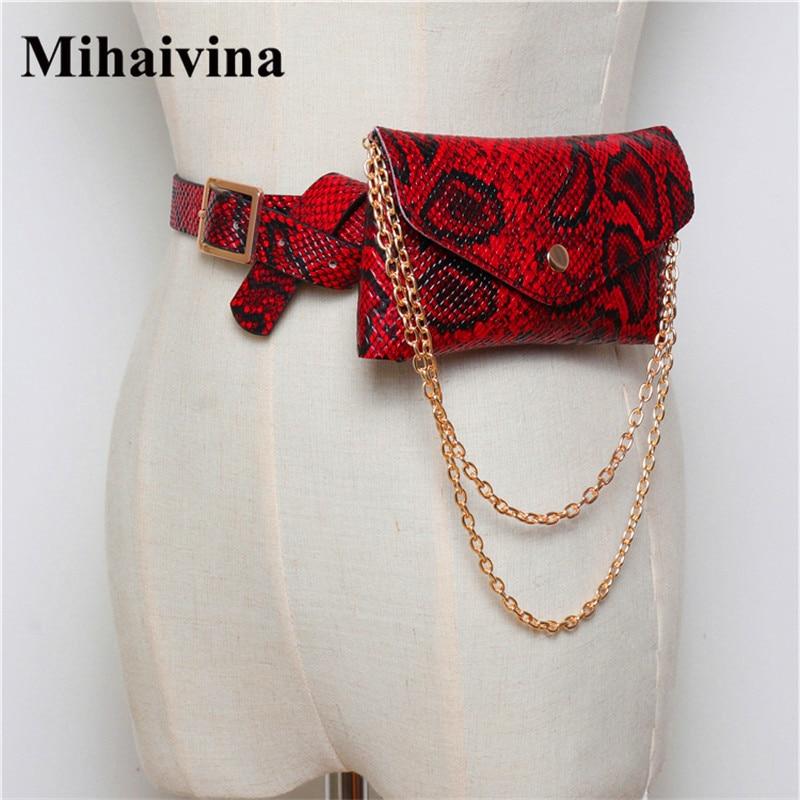 Mihaivina Luxury Serpentine Fanny Pack Women Leather Chain Waist Bag On Belt Fashion Small Phone Pouch Bum Bag Waist Pack Heupta
