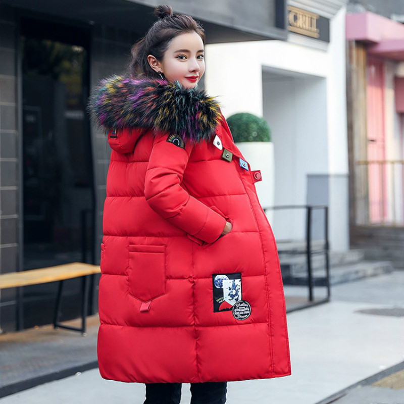 2017 New Winter Women Fur Collar Colorful Coat Korean Long Thick Loose Cotton Padded Coat Parkas Female 2017 winter new clothes to overcome the coat of women in the long reed rabbit hair fur fur coat fox raccoon fur collar