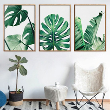 Fresh Green Big Leaves Canvas Wall Art Nordic Poster and Prints Tropical Plants Pictures For Living Room Home Decor