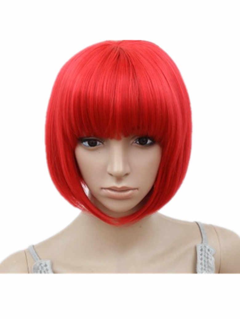 Peluca Bob fei-show sintética resistente al calor ondulado corto Peluca de cabello negro Pelucas disfraz de dibujos animados de rol cosplay rubia peluca con flequillo