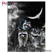 Hobbies Diamond Painting cute Raccoon Pattern 5D Resin Rhinestone Pasted Cross Stitch animal decorative embroidery Night Bandits