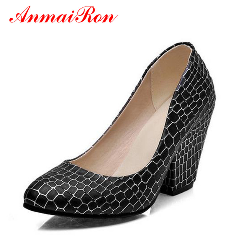 ФОТО  ANMAIRON Chunky Heels Pumps Women High Heels Pumps Pink Black White Office Ladies Shoes Confortable Pumps Women Spring Shoes