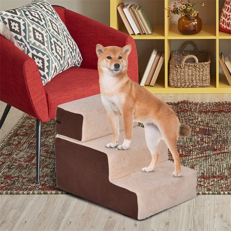 portable-3-step-pet-stairs-soft-step-for-dog-cat-cotton-brown-stair-for-puppy-cat-pet-anti-slip-supplies-ps6809