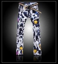 Горячие продажи мужчины красочные печати джинсы мода тонкий карандаш брюки