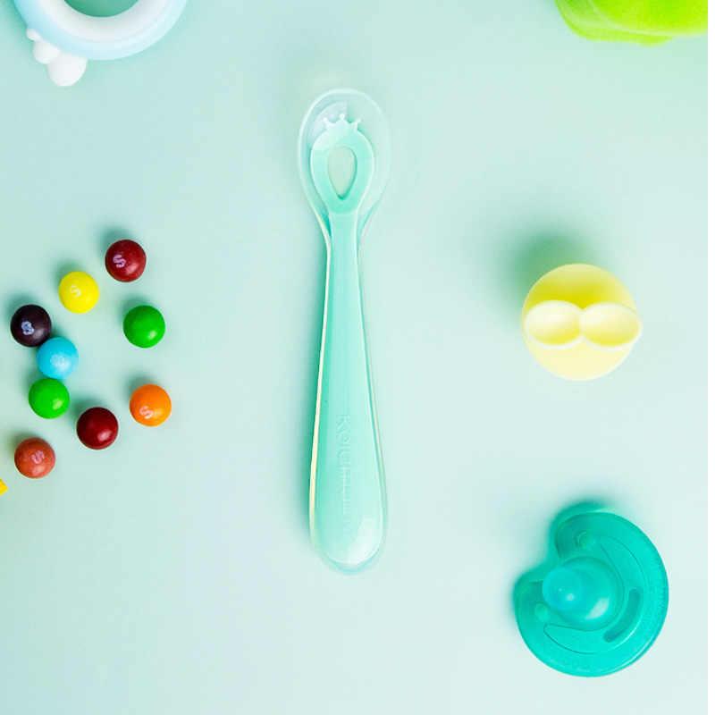 2 pçs xiaomi mijia kola mama bebê silicone alimentação colher de segurança sílica gel para crianças seguro silicone comestível