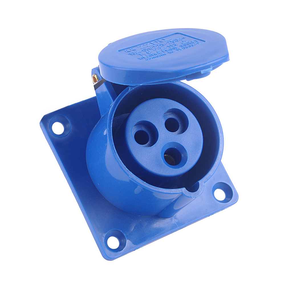 16 AMP 16A Panel Socket 240V 3 Pin Water Weatherproof Electrical Connector Blue 16 240 1064355