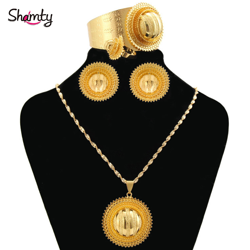Shamty Bridal Sets Ethiopian Jewelry Nigeria Eritrea Kenya African Jewelry Habasha Wedding Set Pure Gold Color A30029/04