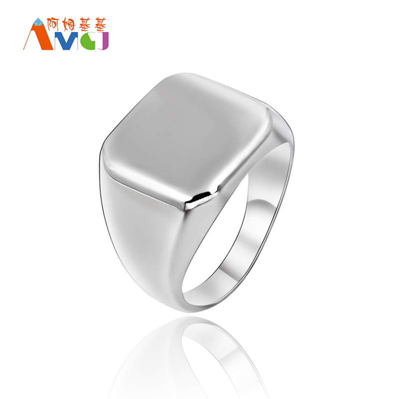 Square Surface Solid Stainless Steel Men Rings Wedding Anniversary