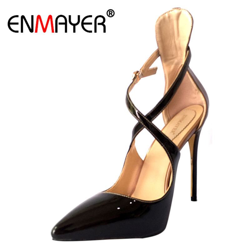 ENMAYER Sexy Pumps for Women Stilleto Extreme High Heels Cross-tied Cover Heels Pointed Toe Ankle Strap Black Wind red Elegant enmayer high heels pointed toe spring
