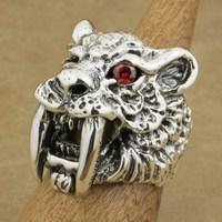 925 стерлингового серебра красный CZ глаз саблезуб кольцо мужские Байкер Тигр кольцо TA17A 7 ~ 15