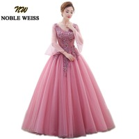 NOBLE WEISS Pink Prom Ball Gown Quinceanera Dresses for 15 years With Flower Tulle Formal V Neck Prom Dress Three Quarter Sleeve