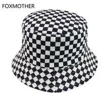 FOXMOTHER новые черно-белые клетчатые ковшовые шапки рыболовные шапки женские мужские