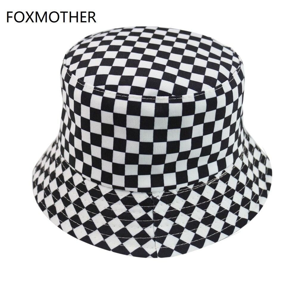 FOXMOTHER New Black White Plaid Check Bucket Hats Fishing Caps Women Mens
