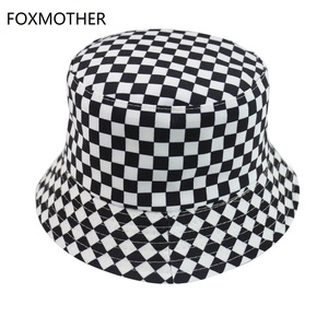 FOXMOTHER New Black White Plaid Check Bucket Hats Fishing Caps Women Mens(China)