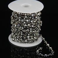 Plated Silver Wire Wrapped Link Coin Beaded Chains Black Lampwork Glass Flat Round Beads Eye Craft