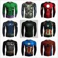 Marvel T Shirt Dos Homens 3D Superman Batman Ironman Capitão América Superhero Manga Longa Amour Compressão Aptidão T-shirt Dropship