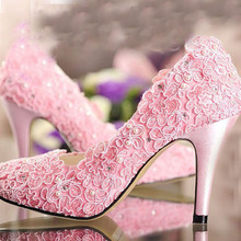 Romantic Pink lace rhinestone pearl wedding shoes all-match perfect bridal shoes customize High Heeled Dress Shoes All match