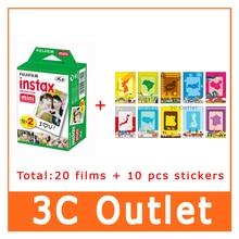 Оригинальный Fujifilm Instax Mini 8 фильм белый край для Fuji Instant Камера Mini8 7 s 25 50 s 90 + 10 декора наклейки, Бесплатная доставка