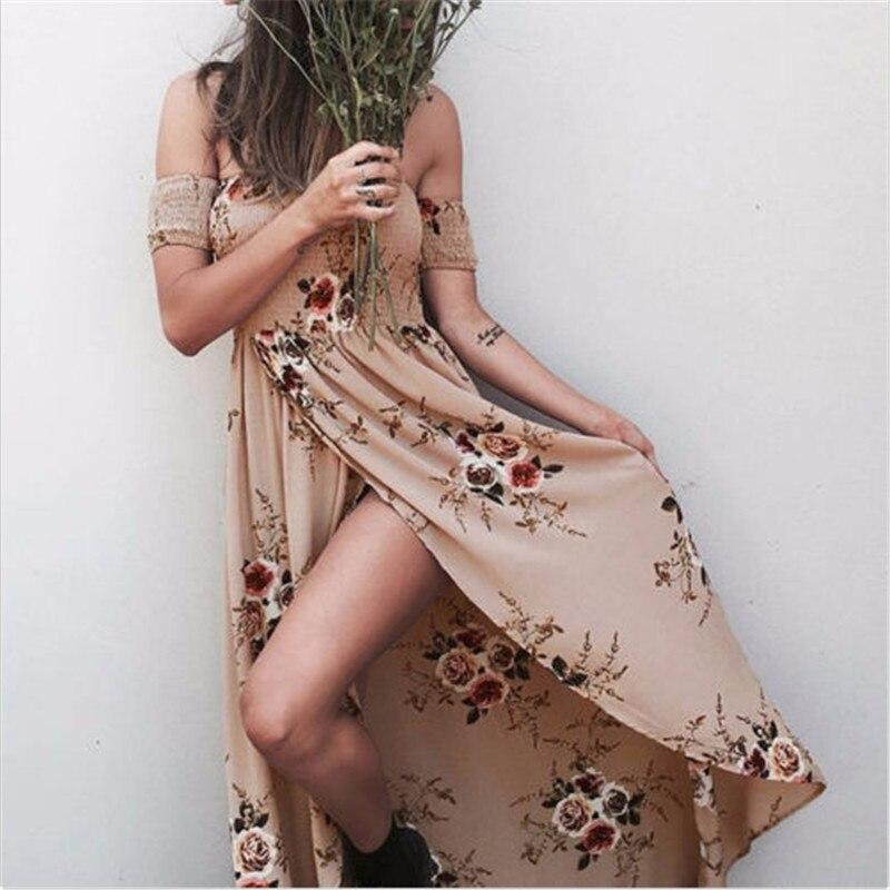 01ff3702e3f43 2017 جديد الجانبية سبليت قبالة الكتف طباعة فستان طويل النساء النبيذ الأحمر  عالية الخصر مطوي ماكسي