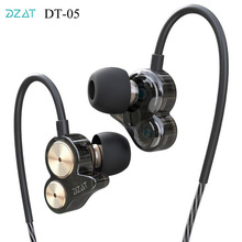 Original DZAT Earphones DT 05 Dual Dynamic Drive Unit Noise Cancelling Super Bass In ear Earphone Headset for iphone for xiaomi