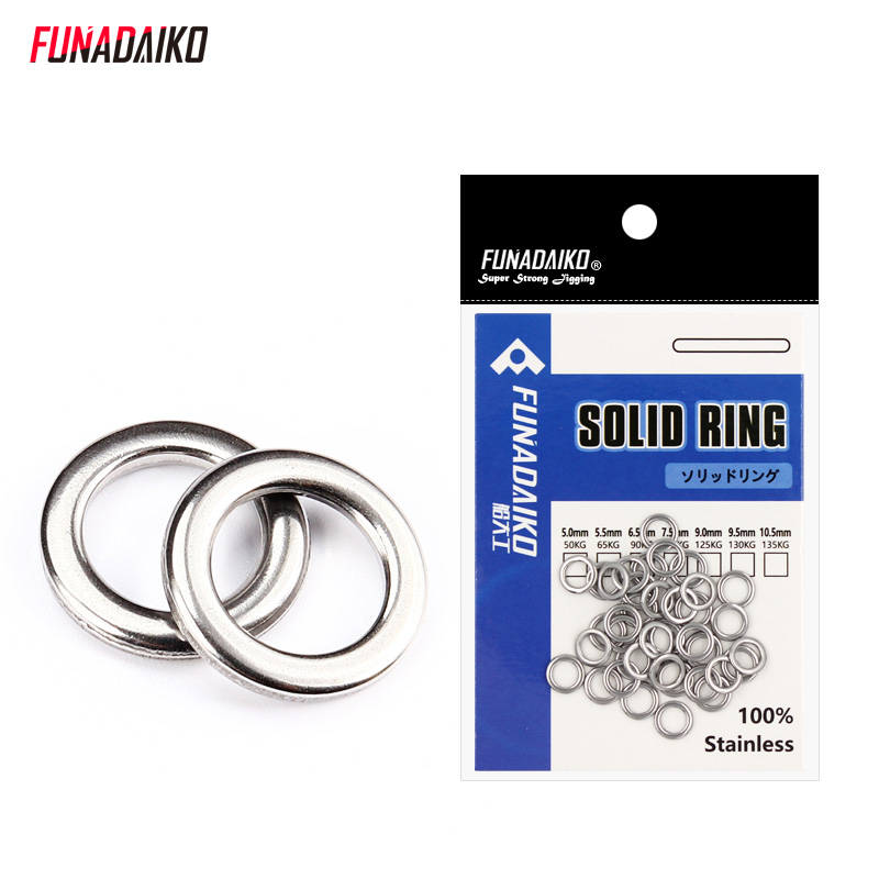 FUNADAIKO Stainless Steel Fishing Solid Ring O Rings Flat Fishing Swivel Knot Lure Double Loop Quick Change Fishing Split Rings