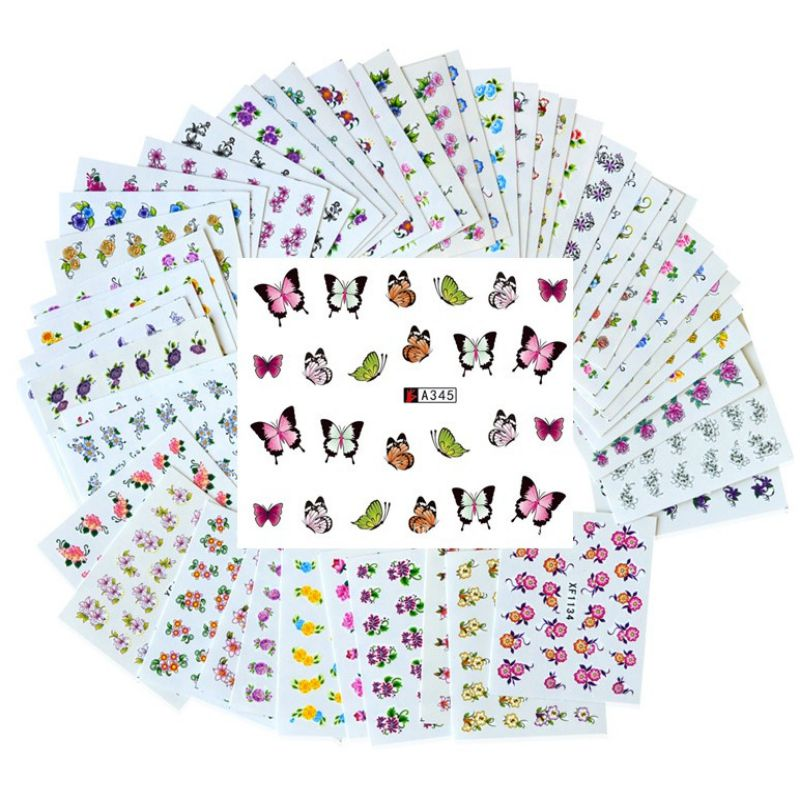 50 Sheets 3D Nail Art Water Transfer Bloem Sticker Kleurrijke Tips DIY Decoratie Nail Stickers Wraps Folie Sticker Manicure