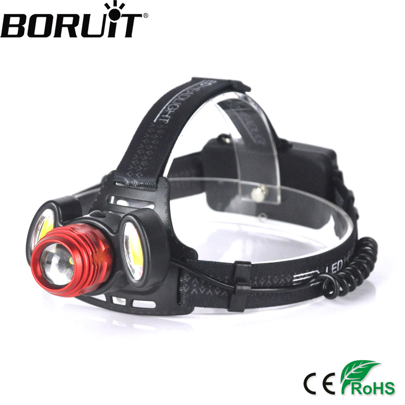 BORUiT XQ-150 5000LM T6 COB LED Headlight 4-Mode Zoom Headlamp Rechargeable Frontal Head Torch Camping Flashlight 18650 Battery