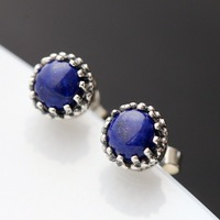 Ecoworld Ge jewelry wholesale 925 pure natural Lapis Inlay handmade Tremella nail Womens Silver Earrings