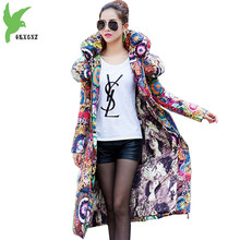 Women Winter Jacket Coats Lengthened Down cotton Parkas Print Hooded Jackets Plus size Thick Warm Female Cotton Coats OKXGNZ1133