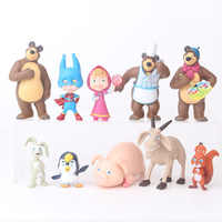 10 pieces/set Russia Masha toy Creative bear doll gift for kids Cake decoration Children's Day gift