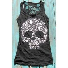 Hot Summer Tops Women Sexy Black Sleeveless Skull Lace Printed Caual T Shirt Fashion Backless Hollow Out Female Shirt LJ8813O