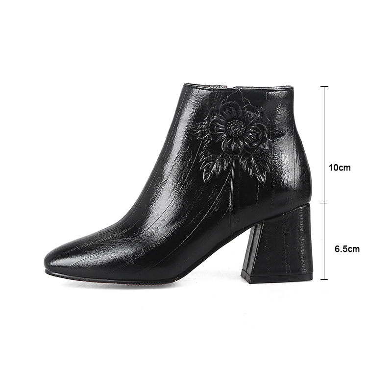 c7ab63a07575 Kcenid Big size 33-48 fashion square toe shoes woman chunky high heels  zipper ankle boots flowers decoration autumn winter boots
