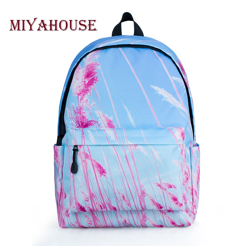 Miyahouse Casual Floral Printed School Backpack Women Canvas Backpack Girls Travel Rucksack For Teenager Laptop Backpack