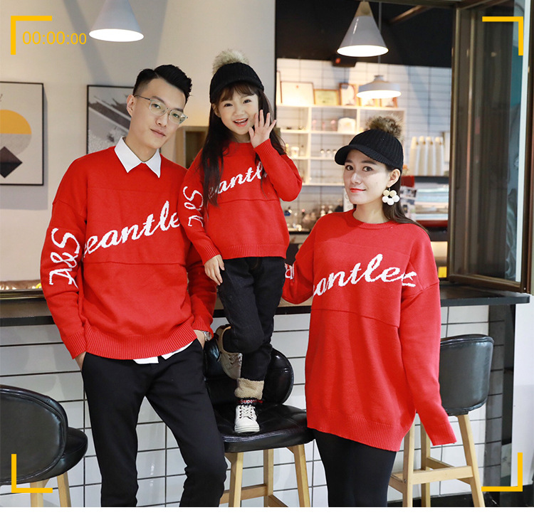 Autumn And Winter Sweater Letter Round Collar Long Sleeve Letter F Sweater Mom And Kids Matching Clothes