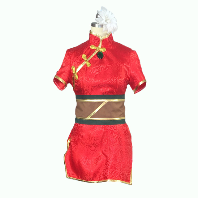LOL The Loose Cannon Firecracker Jinx Cosplay Costume with flower and hand  cover and socks Anime Red Custom Made Cheongsam 99e016f8b161