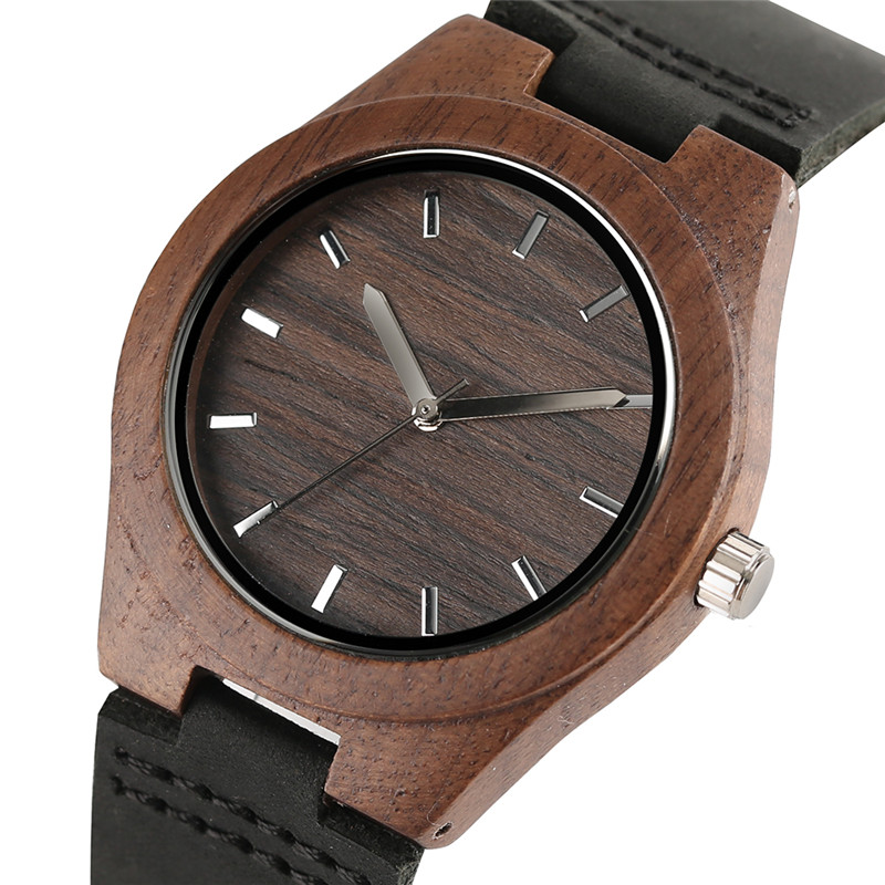 Novelty Gift for Women Lady Wooden Watches Genuine Leather Strap Wrist Quartz Watch Nature Wood Creative Analog Bamboo Clocks simple handmade wooden nature wood bamboo wrist watch men women silicone band rubber strap vertical stripes quartz casual gift page 2