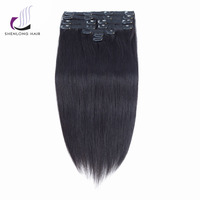 SHENLONG HAIR Straight Remy100 Human Hair Weaving Mongolian 1B Clip In Hair Extensions 9pcs Set Natural