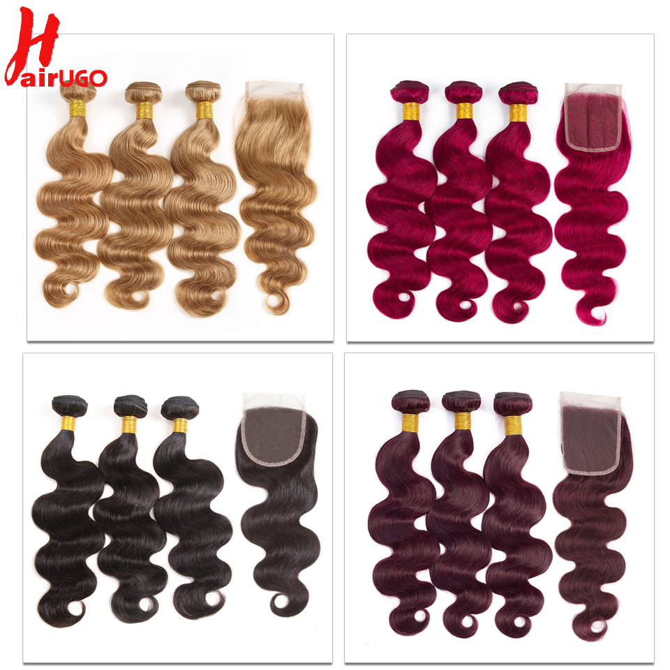 HairUGo Brazilian Body Wave Hair Weave Bundles With Closure Blonde Burgundy Ombre Human Hair Bundles With