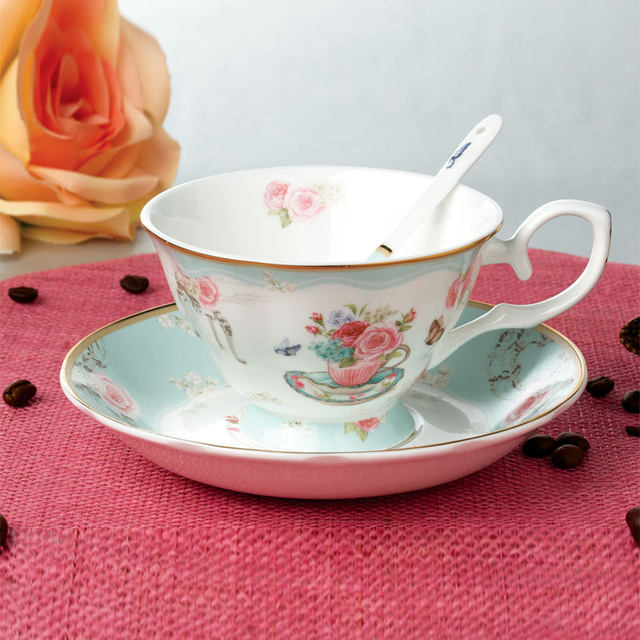 joyous unique coffee mug. image Online Shop Joyous Floral Pattern Stripe Ceramic Fine Bone China