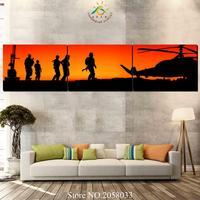 3-4-5 Stücke Sonnenuntergang Soldaten Auf Mission Wandkunst Leinwand Malerei Kunstdruck Bilderrahmen Moderne Bilder für Wohnzimmer
