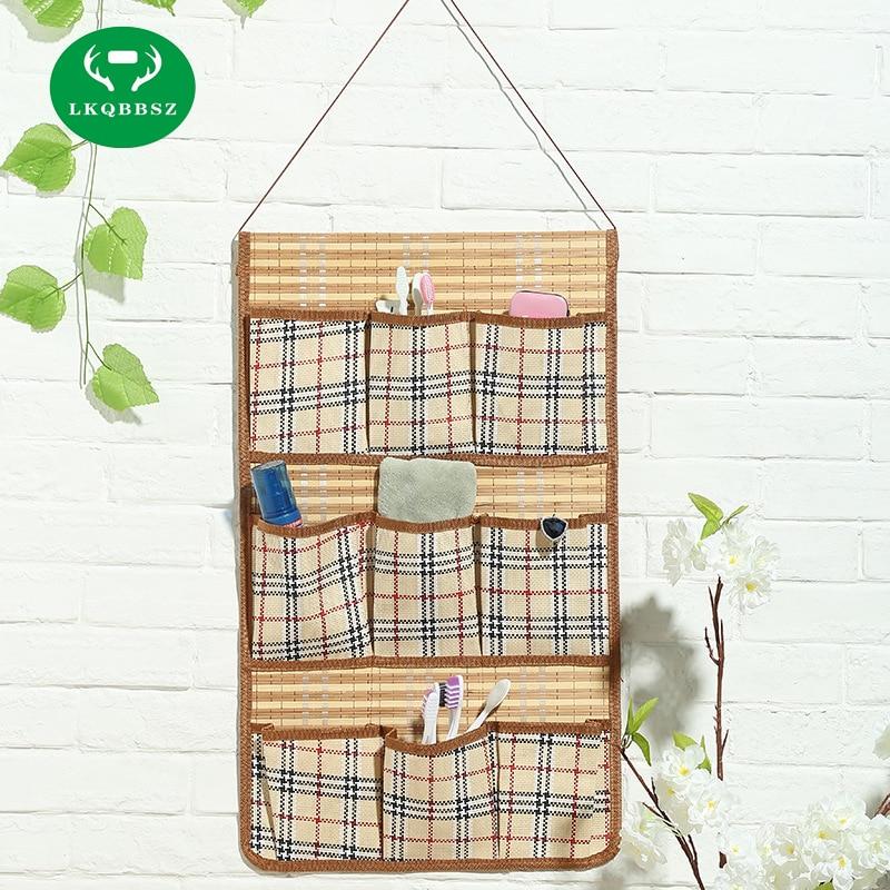 Wardrobe Closet Hanger Storage Organizer Closet Rack Hangers with 9 Pockets Christmas Gifts Bag Purse Handbag Tote Bamboo Bag